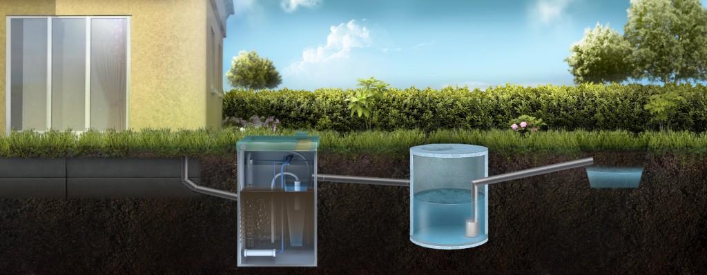 Отвод очищенной воды через накопительный резервуар в ливневую канаву