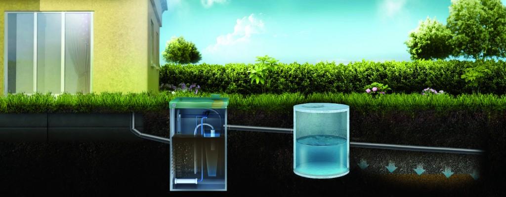 Отвод очищенной воды на поле фильтрации или в дренаж