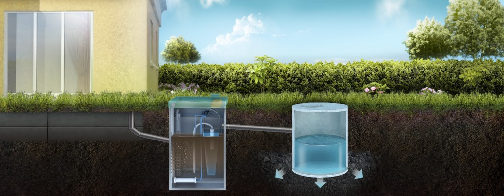 Отвод очищенной воды в дренажный колодец